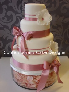 Elegant Pink Ribbon Wedding Cake Contemporary Cake Designs
