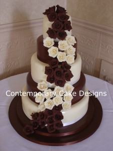 White & Dark Chocolate Roses Wedding Cake