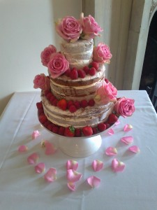 The 'naked' wedding cake.