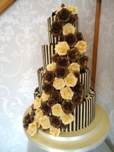 Helen and Sam - Top tier classic Victoria Spone - Bottom Tier Beligium Truffle Torte with Chocolate Butter Cream