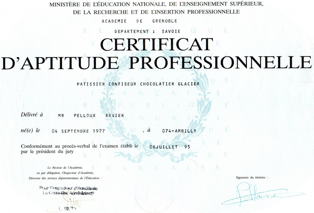 Certificiate Patissier