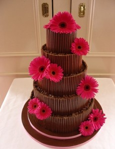 five tier chocolate piping wedding cake