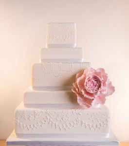 five tier white wedding cake