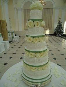 five tier yellow rose wedding cake