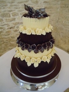 four tier chocolate vanilla wedding cake