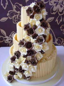 four tier chocolate white icing wedding cake
