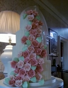 four tier rose garland wedding cake