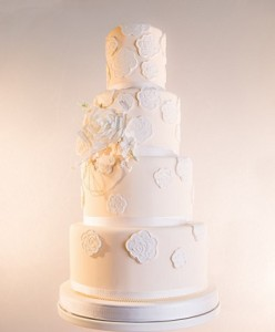 four tier white petal wedding cake