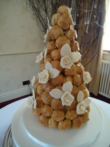 glazed croquembouche tower