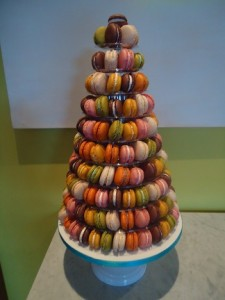 multi coloured macaroon tower