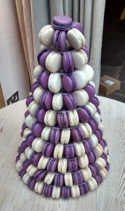purple white macaroon tower