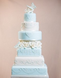 six tier blue white wedding cake