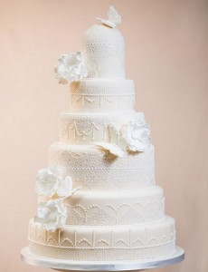 six tier vintage lace wedding cake