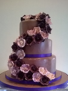 three tier chocolate pink rose wedding cake