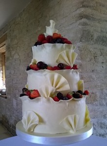 three tier fruit shell wedding cake