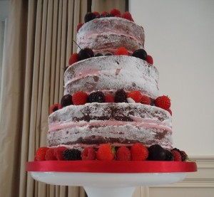 three tier fruit sponge wedding cake