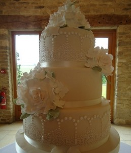 three tier large wedding cake