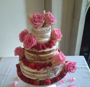 three tier pink fruit sponge cake