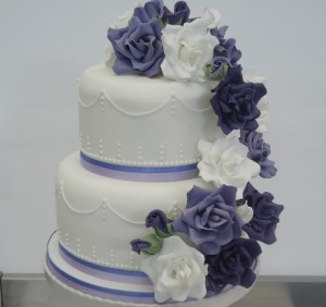 two tier blue white wedding