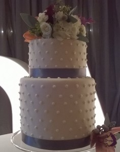 two tier bobbles wedding cake
