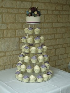 white purple cup cake tower